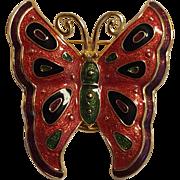 Bob Mackie butterfly pin scarf clip enamel multi color