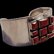 Sterling silver cuff bracelet red stone inlay Modernist design