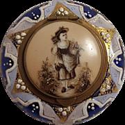 Antique enamel cobalt Bohemian glass jar box sepia flower girl on porcelain