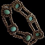 Cannetille antique  14K Gold turquoise cabochon  bracelet star hallmark