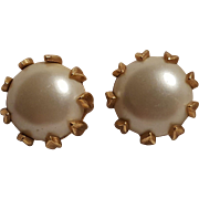 Trifari simulated pearl cabochon clip earrings pre 1955