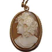 14K Gold Bacchante cameo pendant necklace hand carved shell