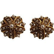 Florenza clip earrings simulated seed pearls