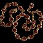 Crown Trifari caged red rhinestone necklace bracelet set
