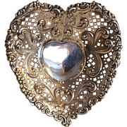 Gorham sterling silver heart candy bob bon dish bowl