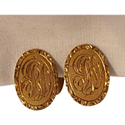 14K Gold men's cufflinks Gothic monogram initials J D