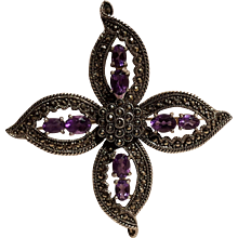 Sterling silver marcasite amethyst pin four petals