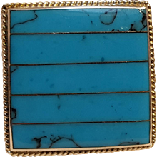 Sterling silver Mexico pin blue stone inlay circa 1980's
