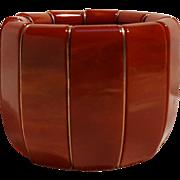 """Paprika Bakelite stretch bracelet marbled 2"""" wide"""
