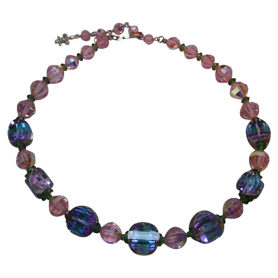 vendome bead necklace pagoda blue purple pink sold