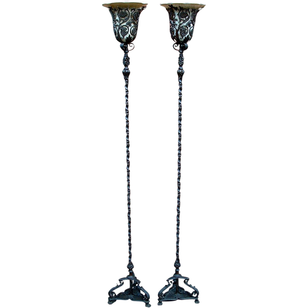 oscar bach art deco bronze u0026 iron torchiere floor lamp pair circa