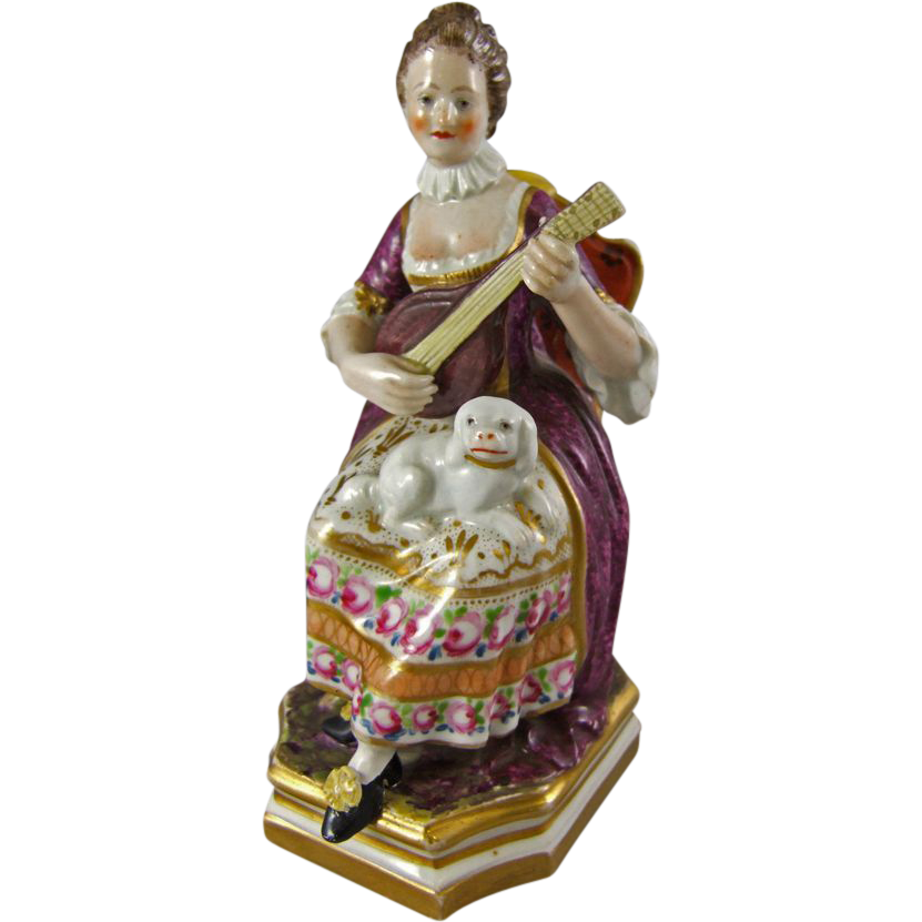 Derby Porcelain Figure of a Musician Playing a Mandolin    Circa 1806 Mark