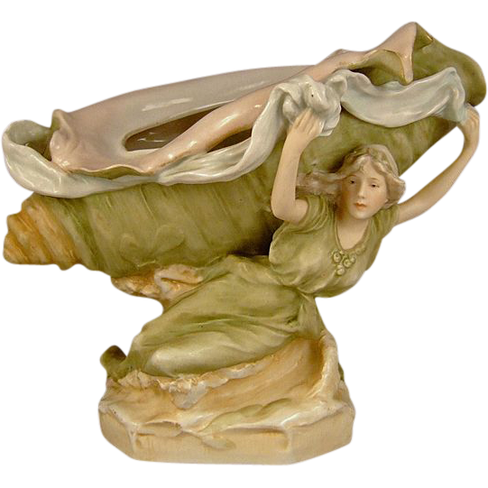 Antique Royal Dux Porcelain Centerpiece Bowl  Art Nouveau Maiden Supporting a Conch Shell