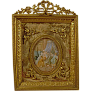 19th Century Miniature Painting in Gilt Bronze Ormolu Frame  French Opéra Bouffe Boudoir Scene