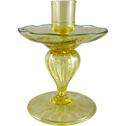 Victor Durand Art Glass Spanish Yellow Candlestick