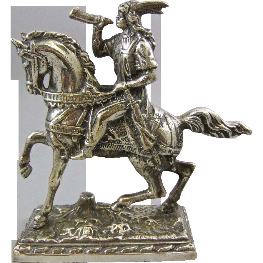 Vintage Cast Silver Metal Horseback Medieval Warrior or Indian Bookend