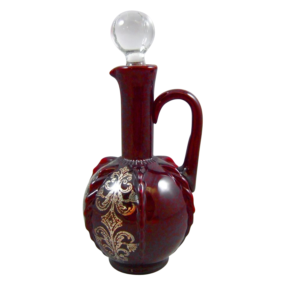 New Martinsville Co. #42 Radiance Ruby Glass Decanter with Silver Decoration