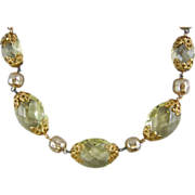 1950's Citrine Faceted Glass & Faux Baroque Pearl & Filigree Necklace