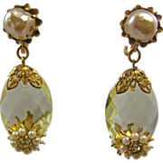 Vintage Citrine Faceted Glass & Faux Pearl Earrings