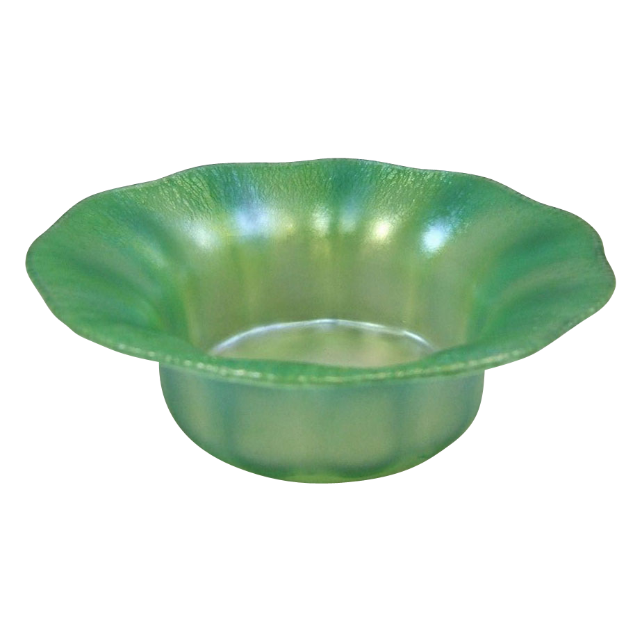 Tiffany Favrile Green Pastel Opalescent Glass Bowl