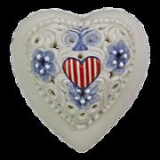 Cybis Reticulated Bisque Porcelain Patriotic Heart Trinket Box