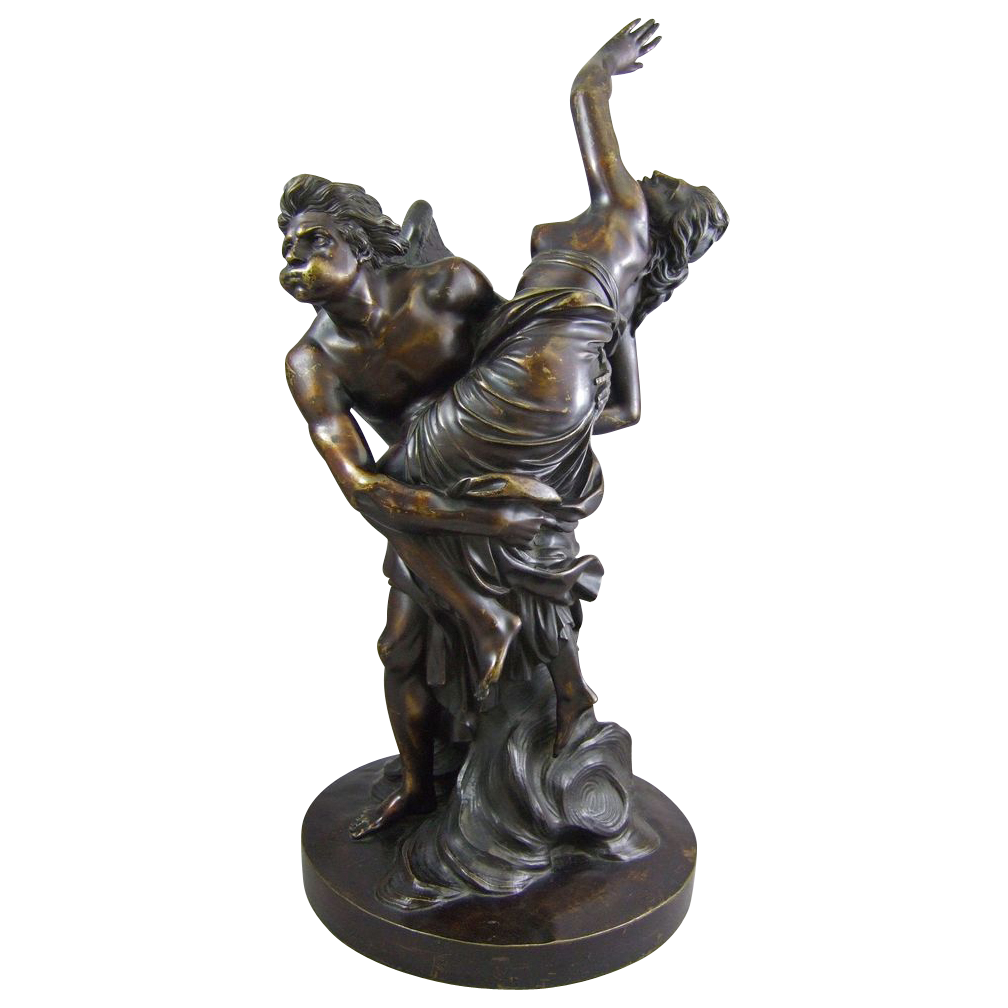 Antique French Bronze Sculpture Boreas and Orithyia after Simon-Louis Boizot