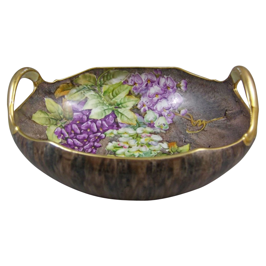 Nippon Hand Painted Porcelain Console Bowl with Wisteria Flowers