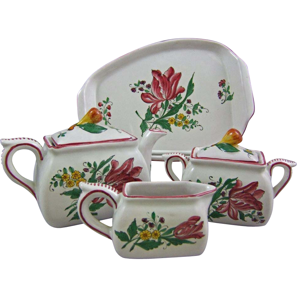 Deruta Italy Majolica Faience Tea Coffee Set with Tray