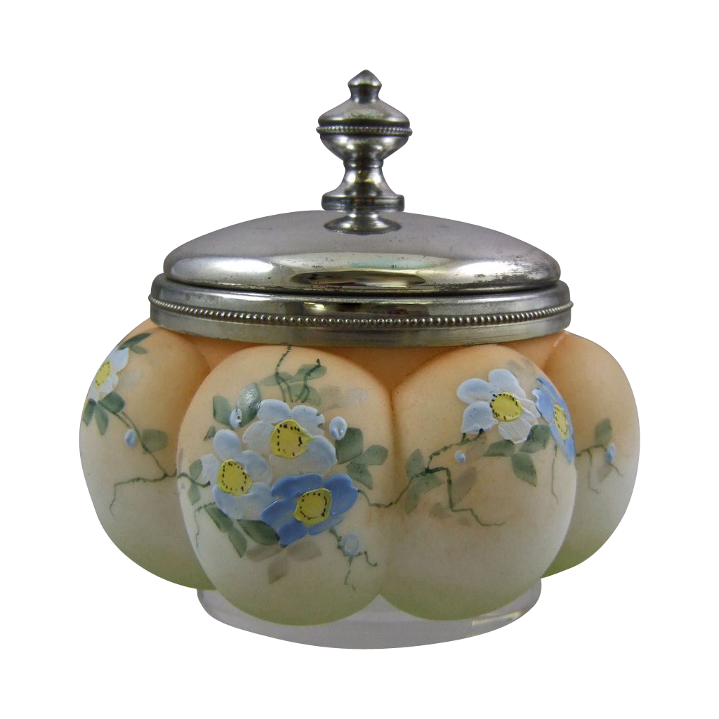 Mt. Washington Pairpoint Crown Milano Sweetmeat Jar with Forget Me Not Flowers