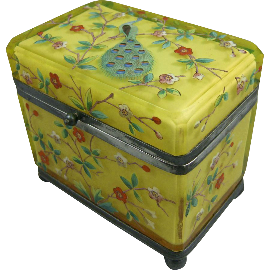 Vaseline Cased Glass Polychrome Enamel Jewel Casket with Peacock Décor