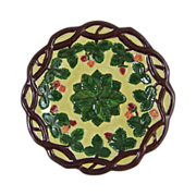 Majolica Tin Glazed Earthenware Strawberry Vine Plate