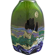 Jack Ink Studio Art Glass Landscape Vase
