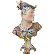 19th Century Majolica Bust of an 18th Century Gentleman Gallant
