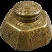 Tiffany Studios New York Largest Size Bronze Zodiac Inkstand 1072 Inkwell Gold Dore'