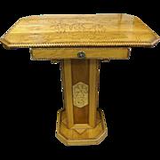 Folk Art Pedestal Table with Pyrography Penguin & Seahorse Décor