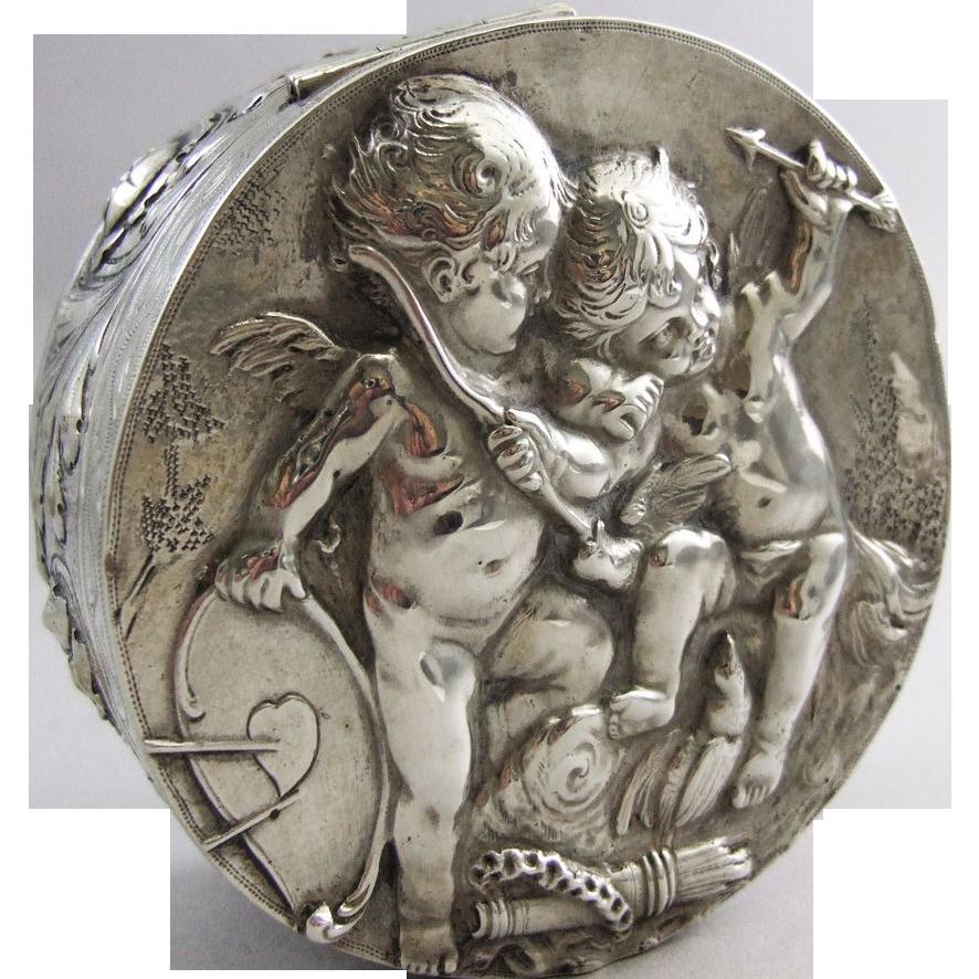 Continental Repoussé Silver Circular Box Cupids