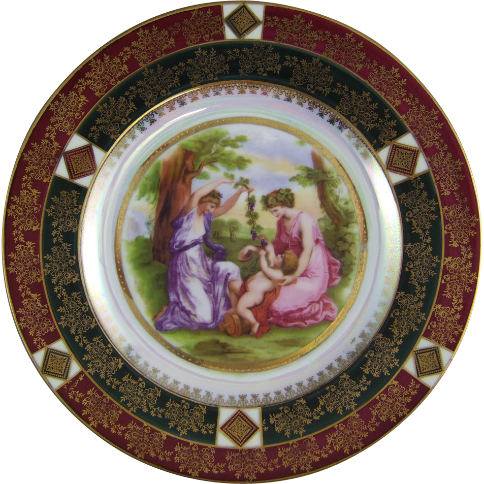 Czechoslovakia Porcelain Cabinet Plate with Allegorical Scene