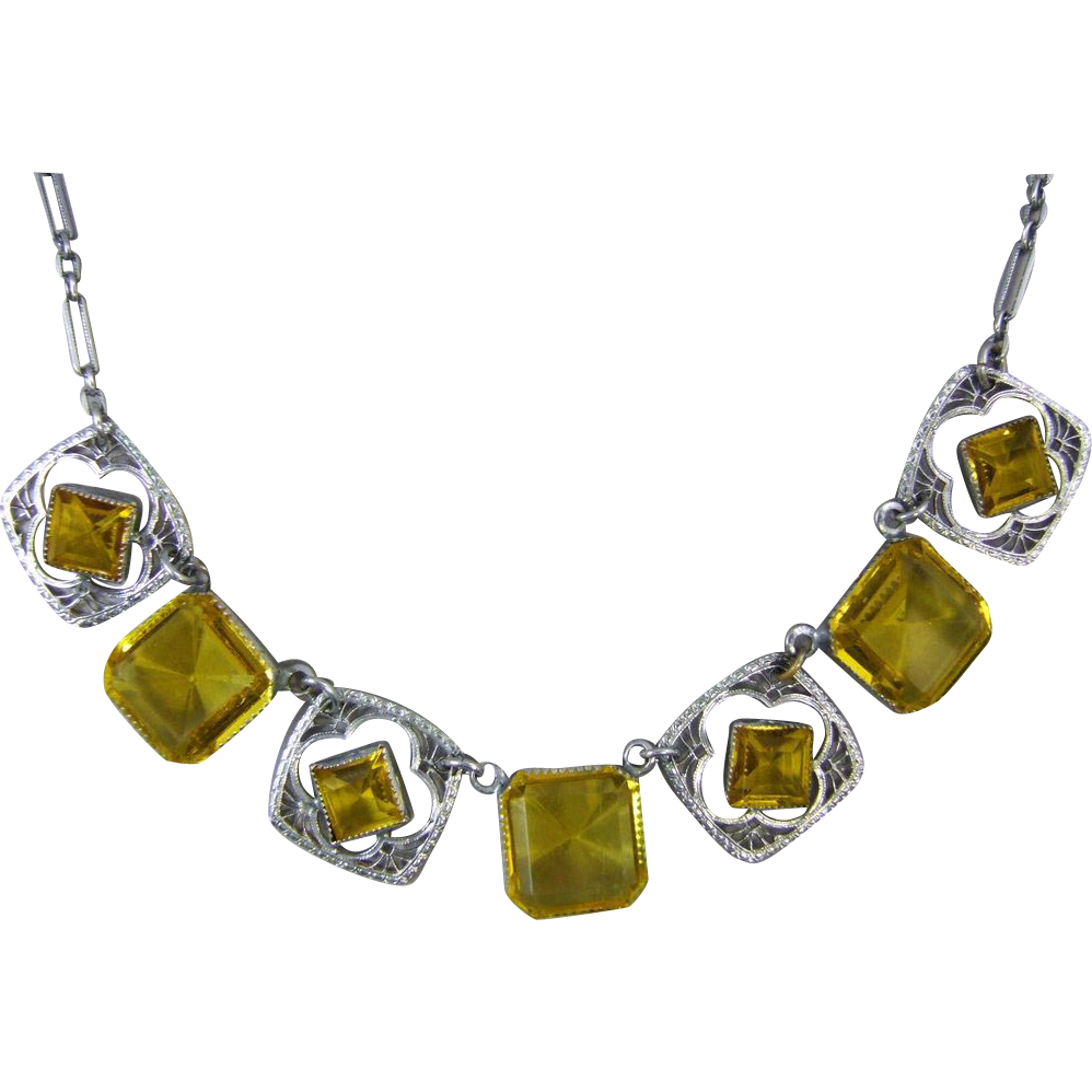 Art Deco Filigree White Metal Necklace with Simulated Citrine