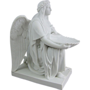 Bertel Thorvaldsen Biscuit Porcelain Baptismal Font Angel Sculpture by Bing & Grondahl