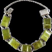 "Art Deco Green Jade and Silver 7.6"" Bracelet"