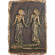 Copper Plaster Mid-Century Modern Wall Plaque of Women in Procession - Red Tag Sale Item