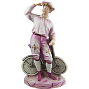 Gebruder Heubach Bisque Porcelain Figure of Boy Bicycle