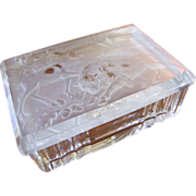 Art Deco Cut Glass and Relief Molded Czech Glass Box