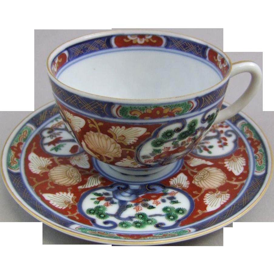 Arita Imari Porcelain Cup & Saucer Set