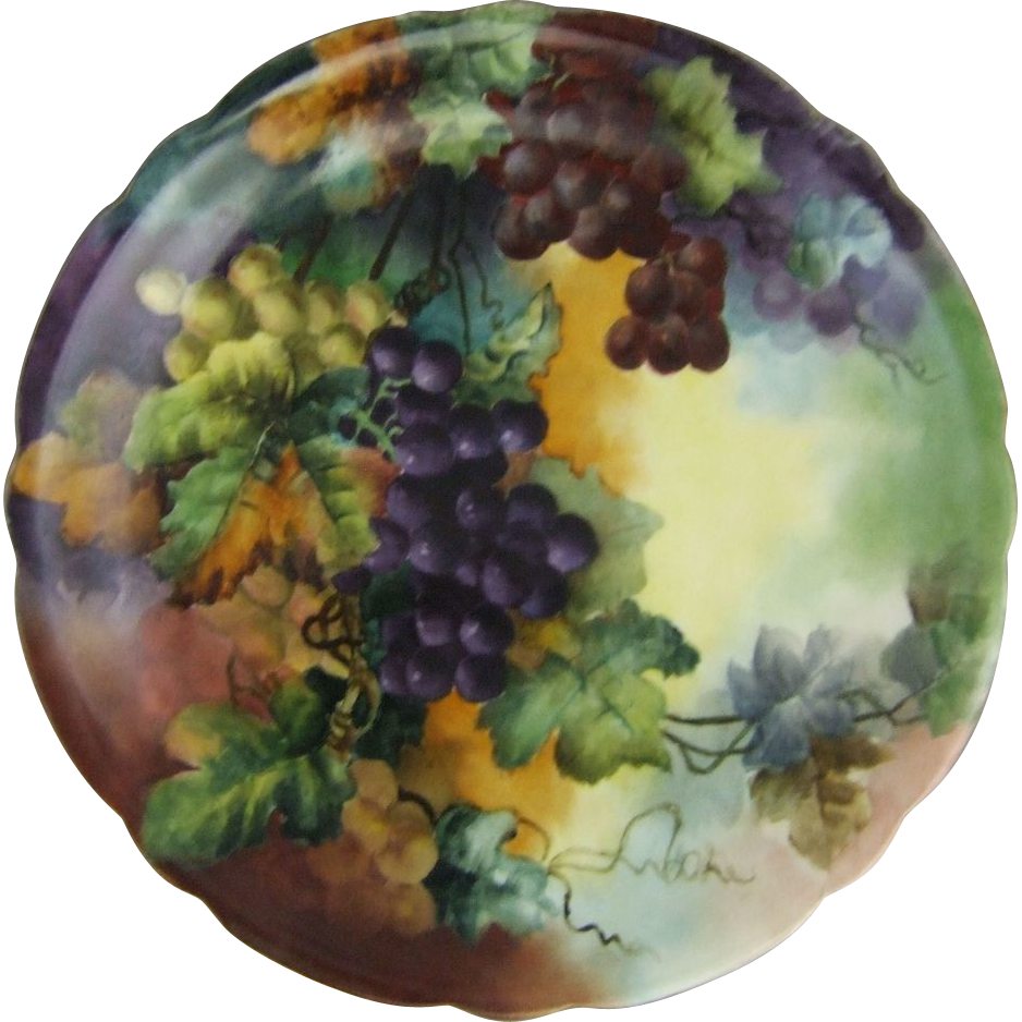 Limoges Porcelain Charger with Hand Painted Grapes Jean Pouyat