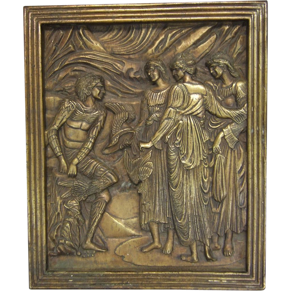 Classical Bronze Architectural Plaque Mercury and the Three Graces