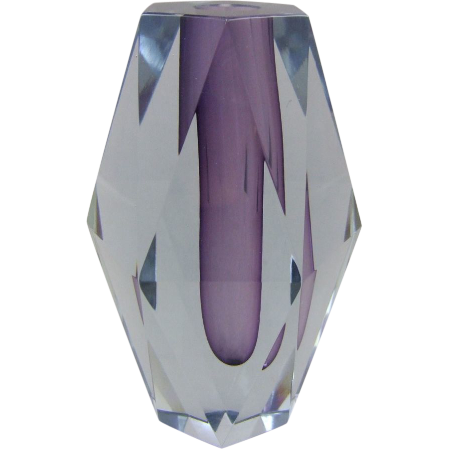 Mandruzzato Cased & Faceted Murano Glass Vase