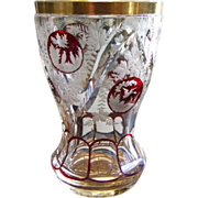 19th Century Bohemian Glass Intaglio Cut Beaker