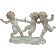 Hutschenreuther U.S. Zone K. Tutter  Porcelain Figural Group of Putti Playing