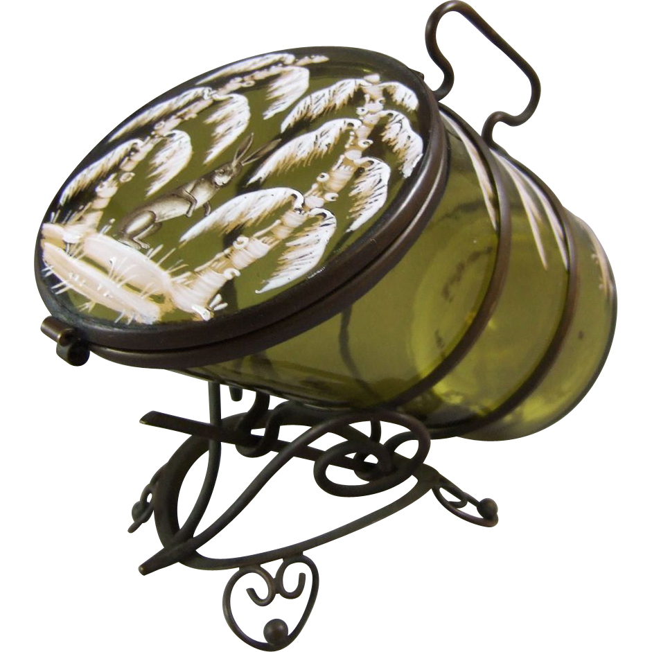 Moser Meistersdorf Bohemian Glass Sugar Casket in the Winter Woodland Rabbit Décor